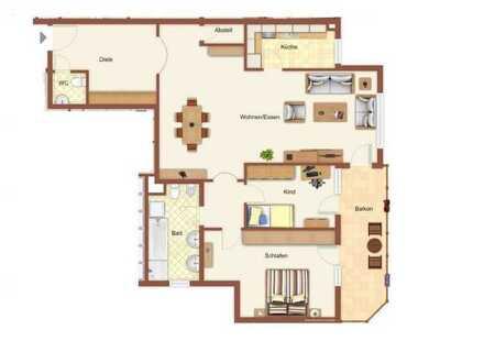 Große 3-Zimmer-Wohnung mit ca. 105 m² in ruhiger Lage. Tageslichtbad & Balkon.