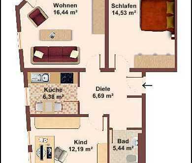 NEU! Sonnige, ruhige 3-Raumwohnung mit Platz für die ganze Familie!