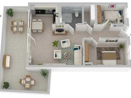 Sonnige 3-Zi-Senioren-Neubauwohnung mit großer Aussichts-Terrasse