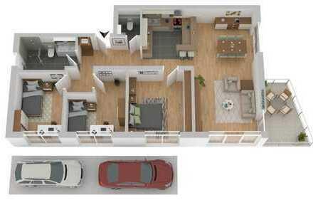 Barrierefreie 4-Zimmer-ETW mit Balkon u. inkl. 3 Stellplätze