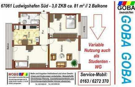 Lu Süd 1.9.2019 o. später 4.OG 3,0 ZKB 81 m² ohne Aufzug Balkon SW ruhige Lage WG geeignet-