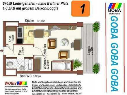 Lu City ab 1.1.2020 früher/später helle 1 ZKB 37 m² Wohn/Arbeitsbereich Balk EBK nahe Berliner Platz