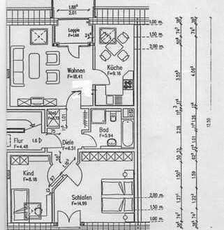 Moderne, ruhige und schöne 3 Zimmer DG-Wohnung in Krefeld, Uerdingen inkl. Einbauküche