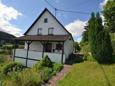 Geräumiges Wohnhaus mit traumhaftem Ausblick, schönem Garten, Garage und ca. 1 ha arrondierter Wiese