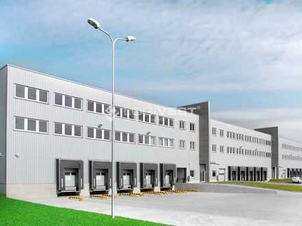 Projektierter Neubau einer Logistikhalle im Industriegebiet bei Kaiserslautern