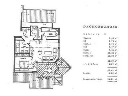 Gepflegte 2-Zimmer-DG-Wohnung mit Loggia und EBK in Nufringen