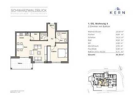 Optimal geschnittene 2-Zimmer-Wohnung mit Süd-Balkon und Aussichtslage (Wohnung 4, 1.OG)