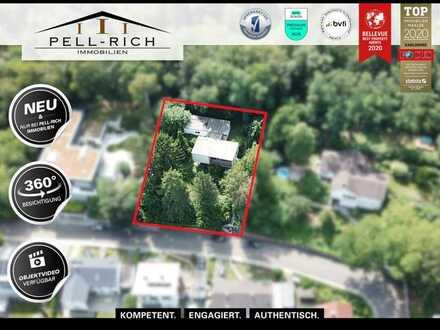 LAGE, LAGE, LAGE: Flachdach-Bungalow in Höhenlage von Karlsruhe-Grötzingen mit großem Grundstück