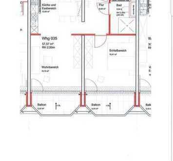 Exklusive 2-Zimmer-Wohnung mit Balkon und Einbauküche in Darmstadt