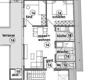 Helle, moderne Wohnung mit Blick über die Dächer Leiselheims