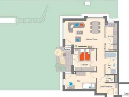 Großzügige 3,5 Zimmer Erdgeschosswohnung mit Terrasse und Garten - Erstbezug!
