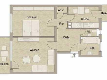 Vollständig renovierte 2-Zimmer-Wohnung mit Balkon und EBK (Ablösepflicht)