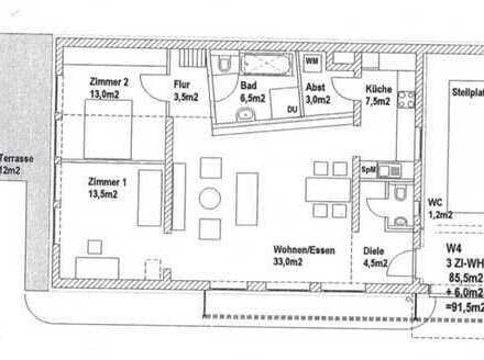 Schöne 3-Zimmer-EGwohnung mit Terrasse, behindertengerecht und EBK in Rüsselsheim Bauschheim