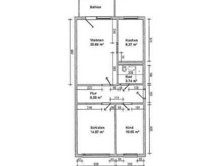 3-Raum-Wohnung mit Balkon zu vermieten