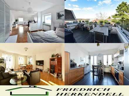 Hausgroße Eigentumswohnung mit Dachterrasse und Fernsicht in ruhiger Seitenstraße