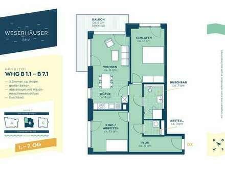 Großzügige und helle 2-Zimmerwohnung