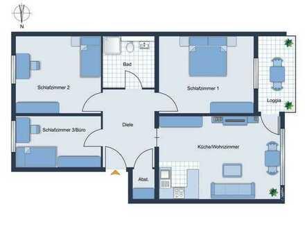 E&Co - Modern sanierte helle 4-Zimmer Wohnung mit West-Balkon + EBK + TG