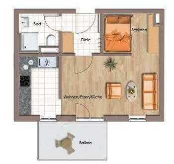 Attraktive 1-Zimmer-Wohnung mit Balkon und EBK in Karlsruhe