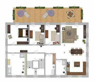 Erstbezug nach Sanierung: 172 qm Wohnfläche, Balkon (ca. 42 qm) mit Aufzug