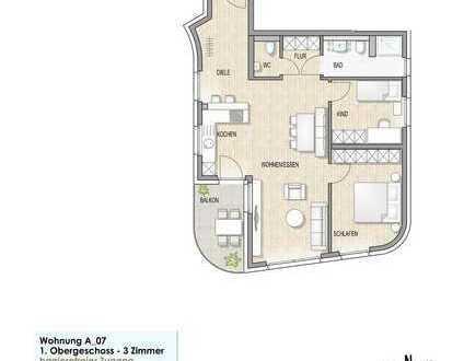 Wohnung A 07 1. Obergeschoss mit Balkon