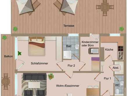 RESERVIERT: Attraktive 3-Zimmerwohnung mit sonniger 60 m² (Dach)-Terrasse in Weidach
