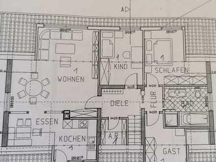 Günstige 4-Zimmer-Dachgeschosswohnung mit Balkon und Einbauküche in Dalberg