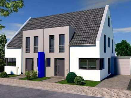 Moderne Doppelhaushälfte als KfW 55 Effizienz- Haus in kleinem Wohnquartier in Krefeld