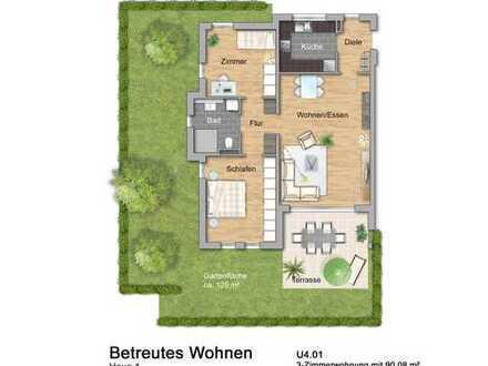 NEU Haus 4: Betreutes Wohnen: Dreizimmerwohnung mit Garten