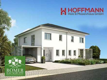 """nach Abriss Altbestand: 2 """"Römer""""-DHH, KFW55, schlüsselfertig incl. 370m2 Traum-Grund"""