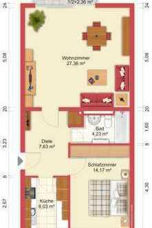 Ruhige Zweizimmerwohnung in gepflegtem MFH im Grünen