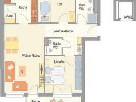 Erstbezug - komfortable 3,5 Zimmer Wohnung mit hochwertiger Einbauküche und Balkon!
