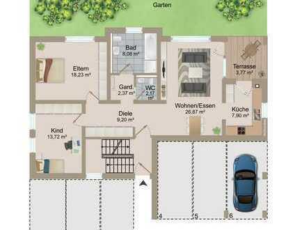3 Zimmer-Eigentumswohung (Neubau/Erstbezug!)m.Terrasse,Carport u. Stellplatz in nur 3-Parteienhaus !