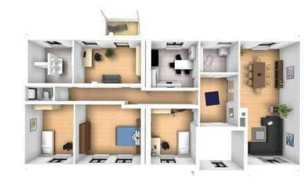 Erstbezug nach Sanierung: schöne 5-Zimmer-Wohnung mit EBK und Balkon in Grimma