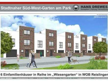 """""""Stadtnaher Süd-West-Garten am Park"""" 2.BA Neubau von 6 modernen Einfamilienhäusern in Reihe, KfW 55"""
