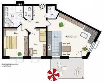 Schöne 3-Raum-Erdgeschosswohnung mit EBK und Terrasse in Bad Rappenau