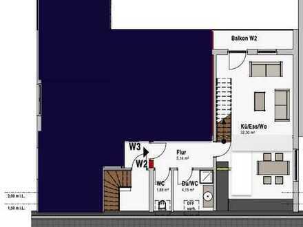 Vorabinserat: Erstbezug nach Sanierung: ansprechende 2-Zimmer-Maisonette-Wohnung mit Balkon