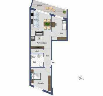 Schicke 3,5 Zimmer-Wohnung mit Süd-West Balkon
