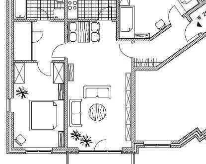 3 Raum Dachgeschoß mit Balkon und Einbauküche