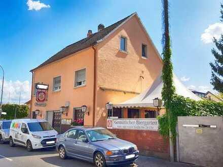 Alteingesessene Gaststätte mit Biergarten oder solides MFH mit Potential im Herzen von Mühlheim-Diet