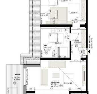 Dachgeschosswohnung, 2 ZKB, 88 m² Wfl. - Saarblick Feeling