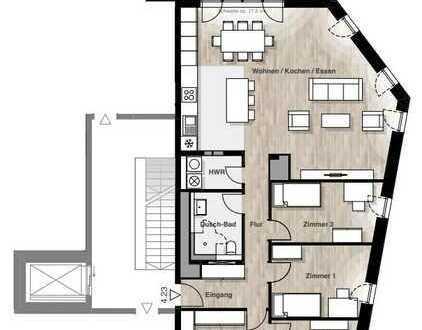 Wie ein Penthouse - Groß, hell und freundlich! 4-Zi.-Whg. mit Dachterrasse in Top-Lage
