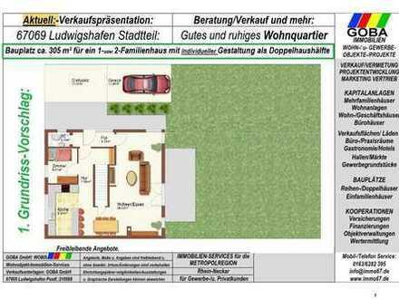 Für Bauträger: Lu Stadtteil Oppau Bauplatz 305 m² für 1-2 Familienhaus auch mit Maisonette-Wohnung