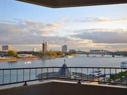 Phänomenaler Rheinblick: Bezugsfertige 1 Zi-Wohnung mit Süd-Loggia zum Rhein.