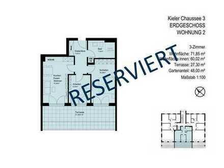 NEUER GRUNDRISS // 3-Zimmer-Wohnung mit Terrasse und Gartenanteil