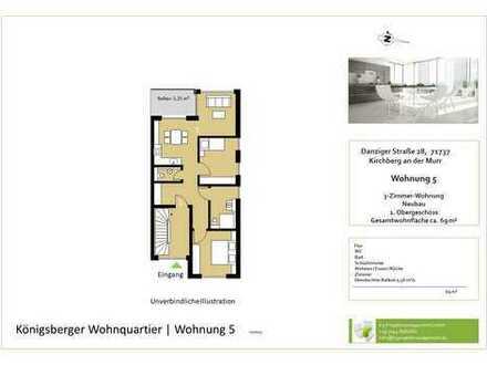Behagliche 3,5-Zimmer-Whg. im OG mit Balkon und Aussicht (Whg. 5)