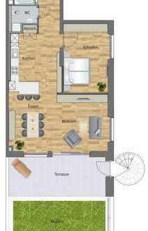2-Zimmer-Neubauwohnung mit Terrasse und Grünfläche