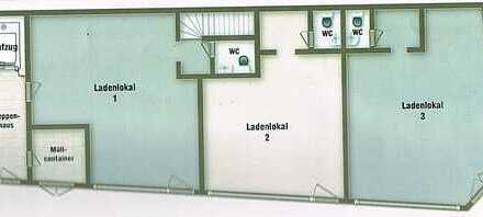 Eckladenlokal aufgeteilt in 3 Einheiten