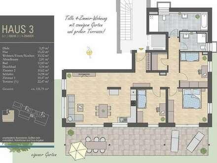 Ideal für Familien! 4 Zi.-Whg. mit großer Terrasse und Garten, H3/W1- 26.250 EUR Zuschuss KFW 55 EE