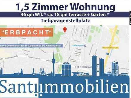 1,5 Zi Whg. mit Terrasse und Garten, nur 5 Gehmin. zur U-Bahnstation, (Erbpacht)