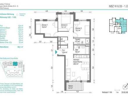 NEUBAU! Schöne 4-Zimmer-Wohnung (NBZ6.05) mit Balkon zum begrünten Innenhof